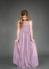 Flower girl dress in dusty lavender.