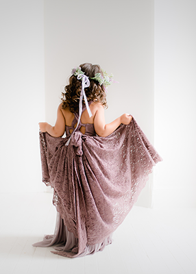 The Paige Dress: 'Vintage Lavender': Dark Lavender Lace over Dusty Lavender