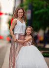 The Grace Dress: Blush Sequin Bodice and Light Ivory Tulle