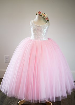 The Ophelia Dress: Iridescent Sequin Bodice and Light Pink Skirt