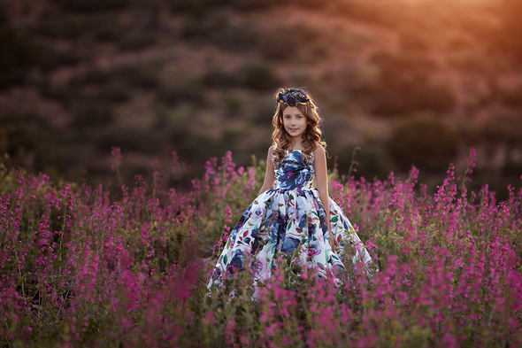 The Traveling Dress Project: Midnight Blooms: Size 8, fits sizes 6-9