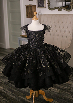 The Emersyn Gown in Black - 3D butterflies with Gold accented edges