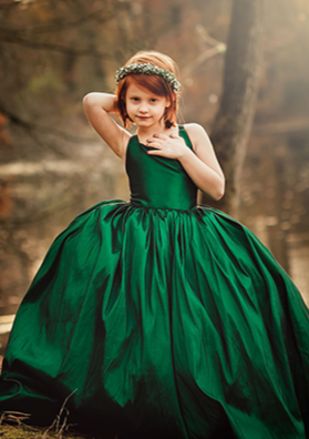 READY to SHIP - The Hadley Gown in Emerald Green WITH a Tutu Sewn in!