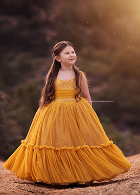 The Traveling Dress Project: The Alyssa Gown in Mustard - Size 6, fits 4-8