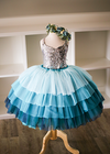 Rent The Cupcake Gown in Silver Sequins and Teal: size 6: fits 2-8yrs