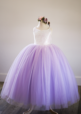 The Ophelia Dress: Irridescent Sequin Bodice and Lavender Skirt -