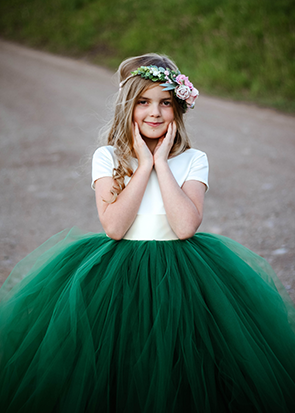 The Sophia Dress: Ivory Satin Bodice and Forest Green Tulle