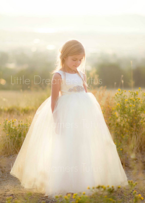 The Juliet Dress: Ivory Satin Bodice with Ivory Tulle