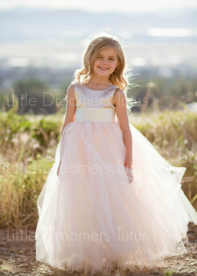 The Juliet Dress: Champagne Satin Bodice with Blush Tulle