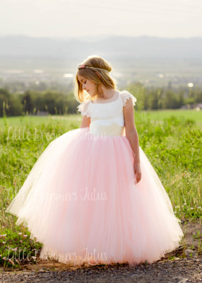 The Everly Dress: Ivory Satin Bodice and Pink/Blush Tulle