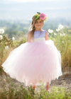 The Juliet Dress: Periwinkle Satin Bodice with Light Pink Tulle