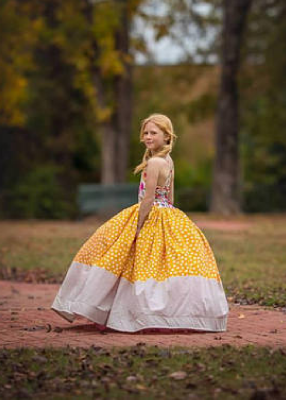 Rent The Abigail Gown in Pink Floral and Yellow Polka Dots - Size 7: fits 6/8