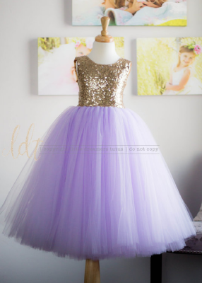 The Juliet Dress: Gold Sequin Bodice and Lavender Tulle