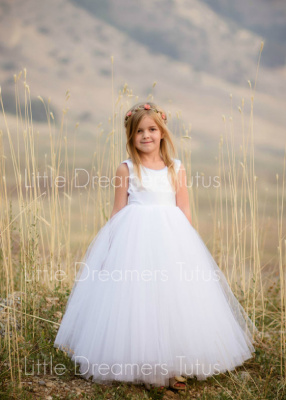 The Juliet Dress: White Satin Bodice with White Tulle