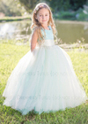 The Juliet Dress: Aqua Blue Satin Bodice with Ivory Tulle