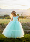 The Juliet Dress: Mint Green Satin Bodice with Mint Green Tulle