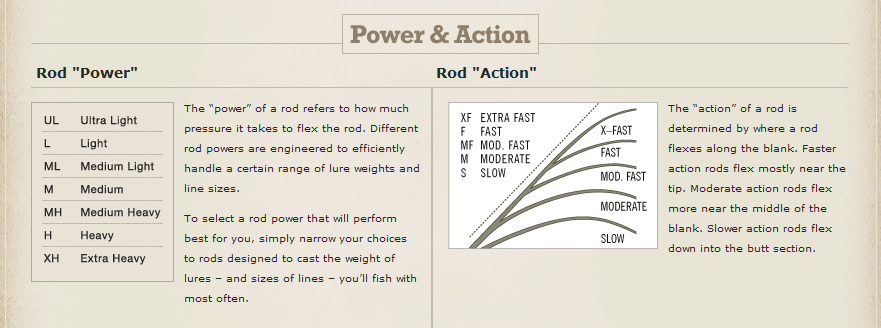 Power and Action of Fishing Poles
