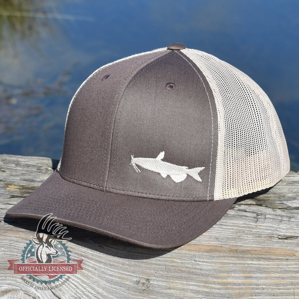 Catfish Fishing Brown Retro Trucker Hat - Bucks of America