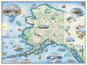 Xplorer Maps Releases Hand-Illustrated Alaska State Map Featuring Stunning Landscapes, Mountainscapes and Wildlife