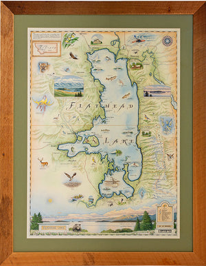 New Flathead Lake Reclaimed Wood Frames Showcase Hand-Drawn Maps, Make Great Gifts