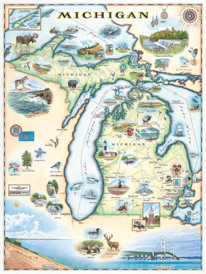 Xplorer Maps Releases Hand-Drawn Michigan State Map Featuring Lakes, Landscapes and Lighthouses
