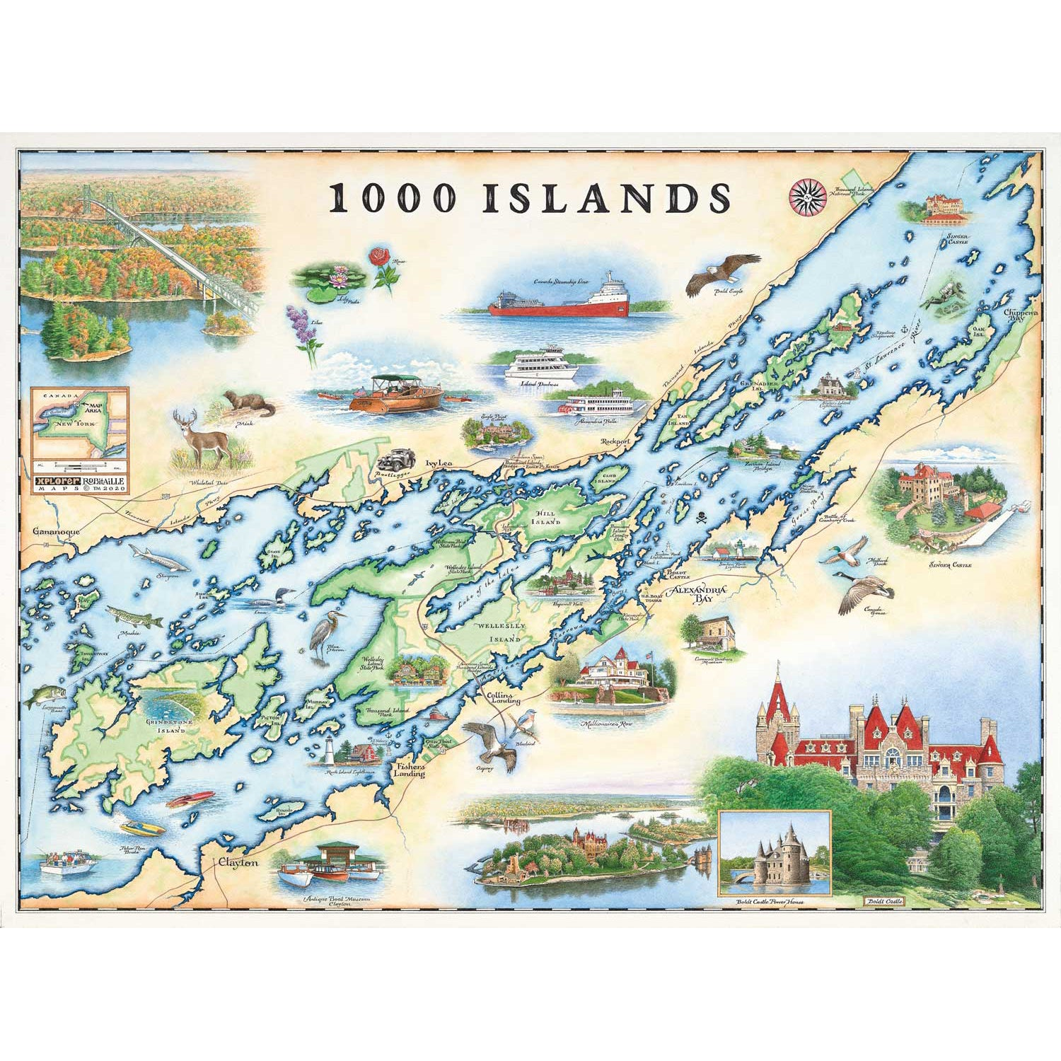 Map Of 1000 Islands Canada 1000 Islands Map   Thousand Islands National Park Map   Xplorer Maps