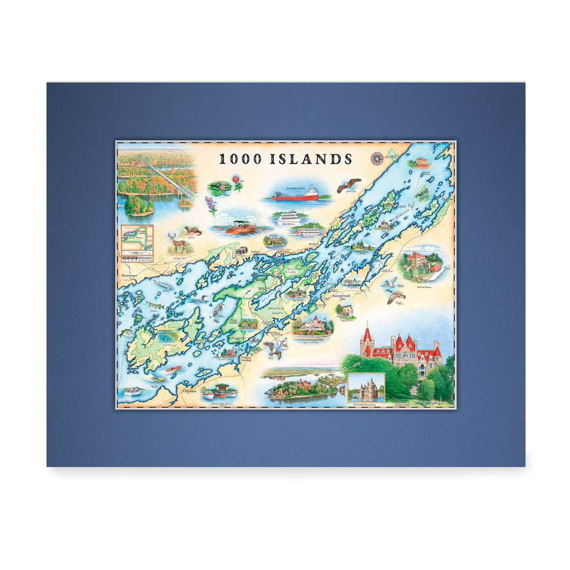 "1000 Islands Mini-Maps are 11""x14"""