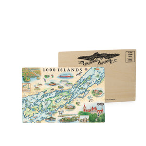 "These 1000 Islands wood postcards measure 6 1/4"" wide by 4 1/4"""