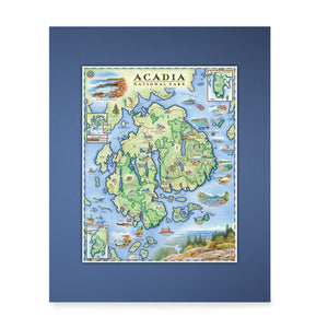 "Acadia Mini-Maps are 14""x11"""