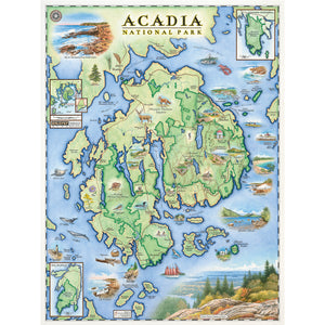 "The Acadia National Park Map is 18"" wide by 24"" tall."