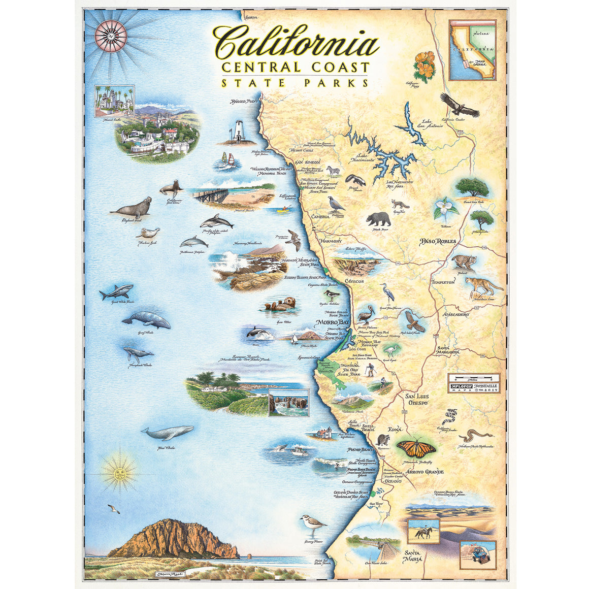 California Map Central Coast State Parks Poster Print