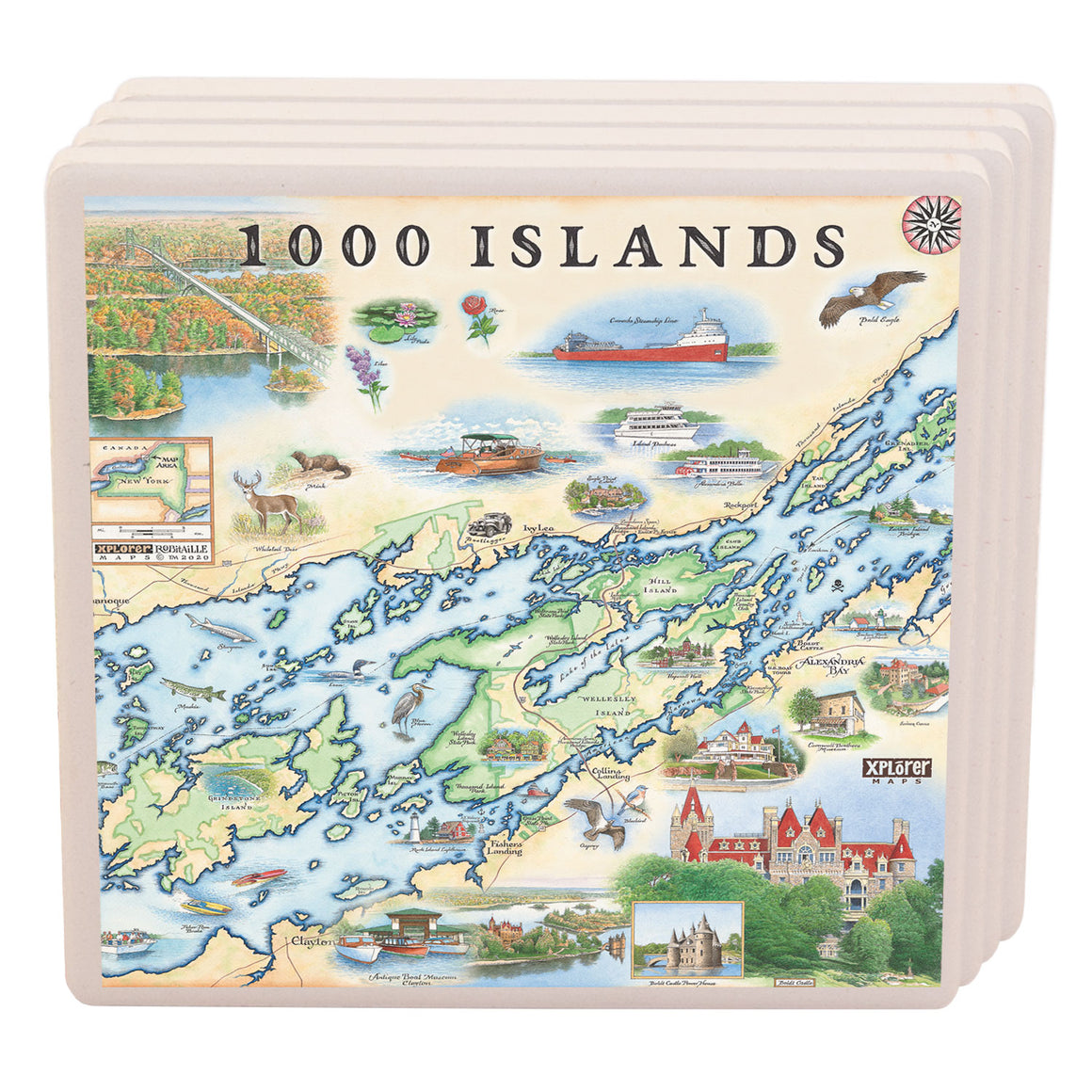1000 Islands ceramic coaster gift set of 4