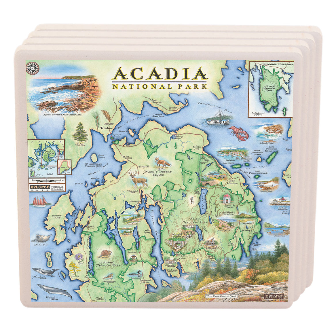 "These Acadia National Parks ceramic coasters are proudly made in the USA and measure 4"" x 4"""
