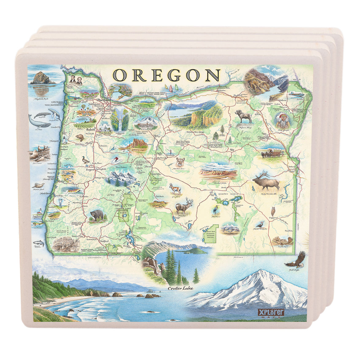 Oregon Map Coasters