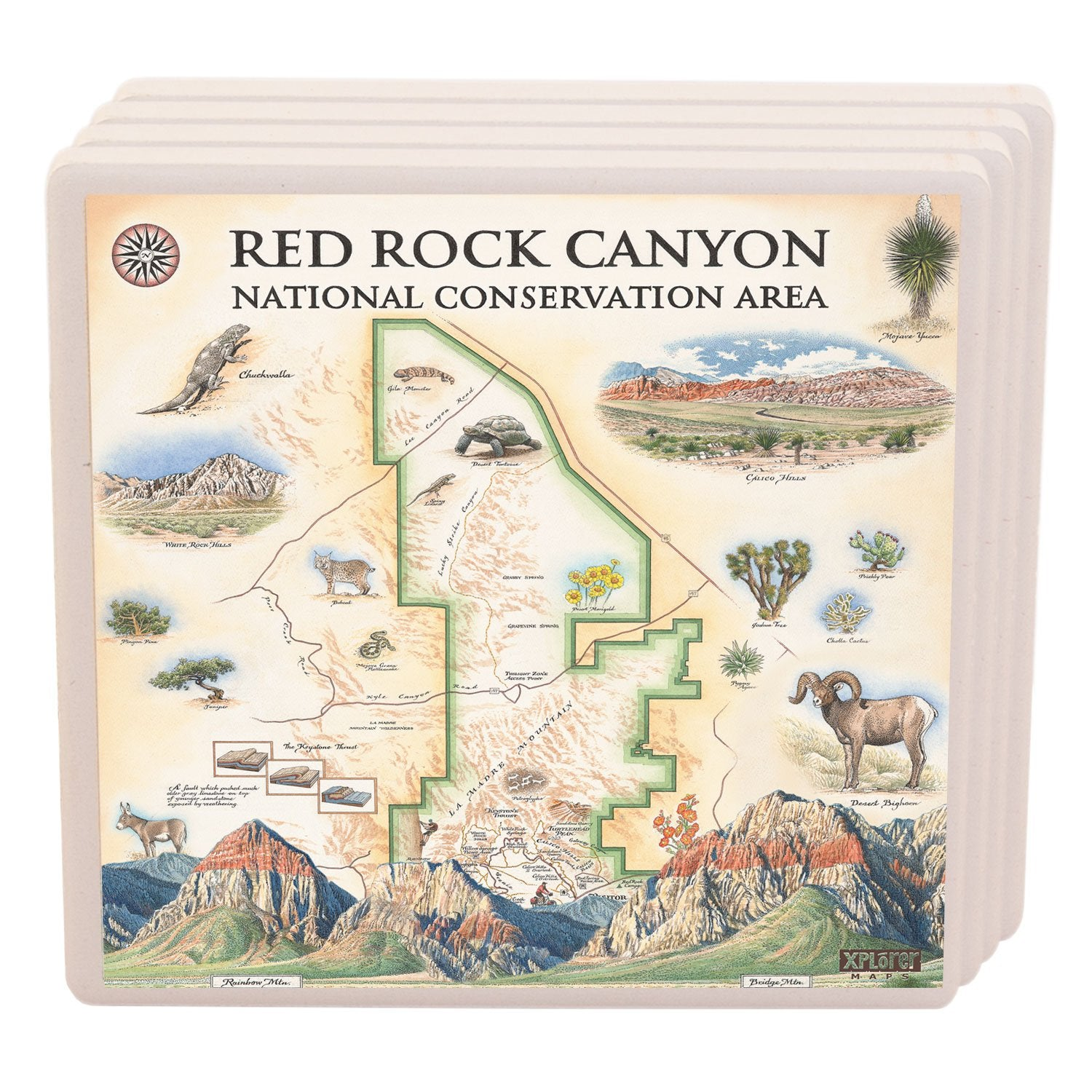 Red Rock National Park Ceramic Coasters - Xplorer Maps Red Rocks Map on