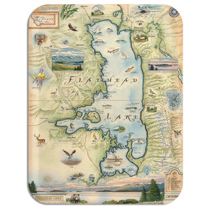 Flathead Lake Map Serving Tray