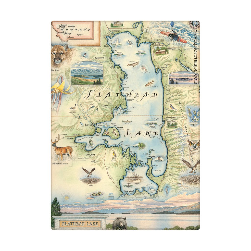 map of flathead lake Flathead Lake Map Art Magnets Hand Drawn Illustrated Map Of map of flathead lake