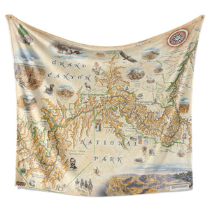 Hanging blanket with map of Grand Canyon National Park. Full color, artist made map.