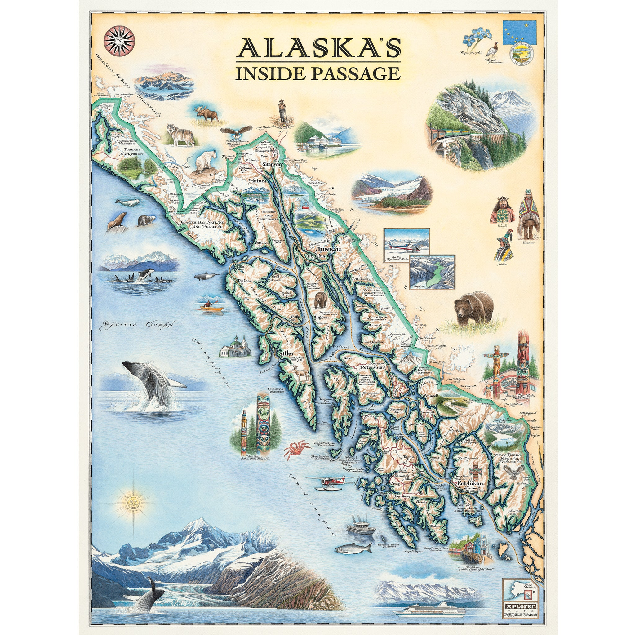 Inside Passage Map Inside Passage Alaska Map   Xplorer Maps