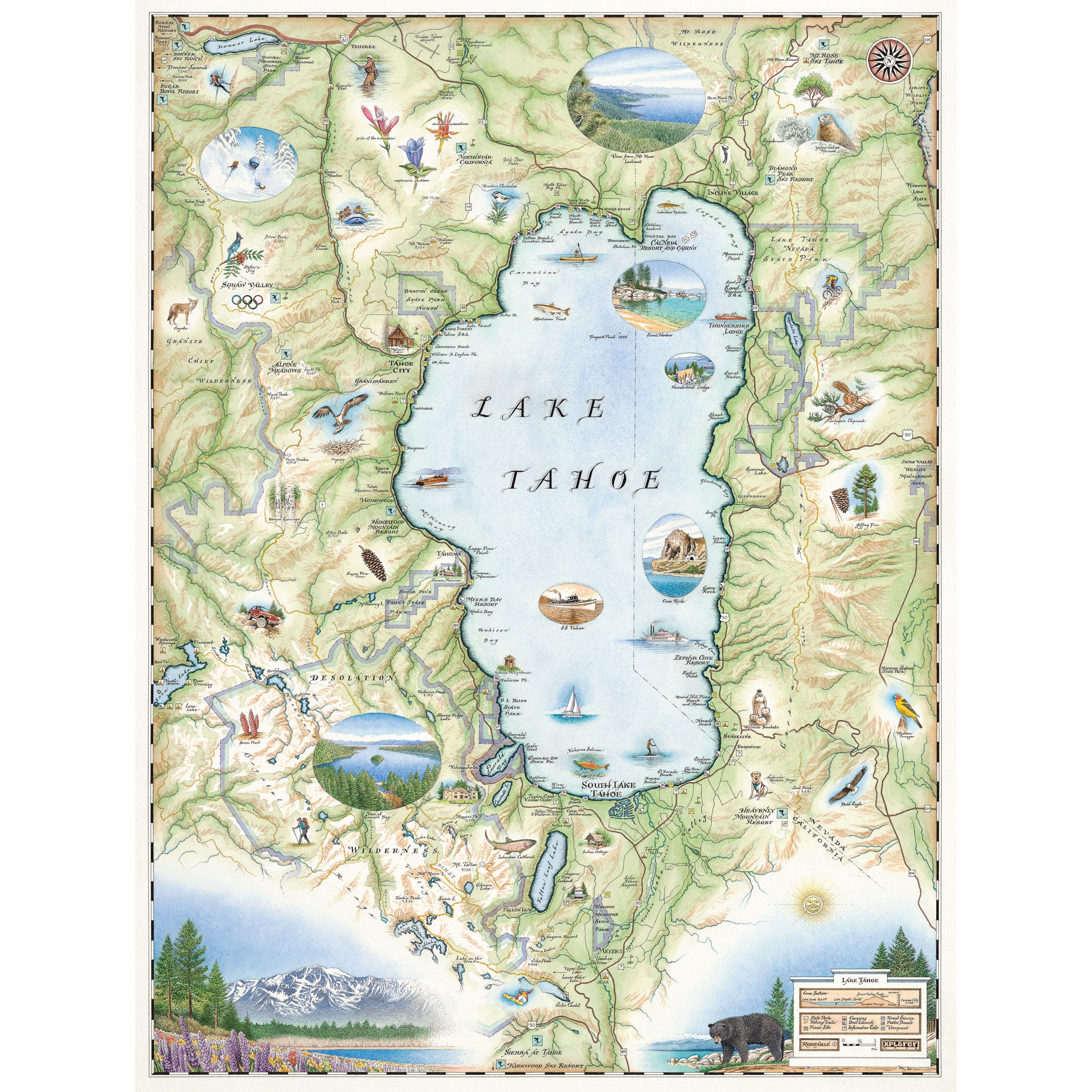 lake tahoe on a map Lake Tahoe Map Art Prints Poster Art Wall Art Xplorer Maps lake tahoe on a map