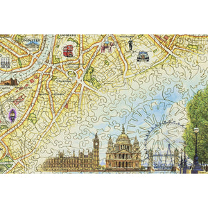 London City Map Wood Puzzle Close Up