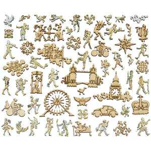 London City Map Wood Puzzle Jigsaw Pieces Ornate