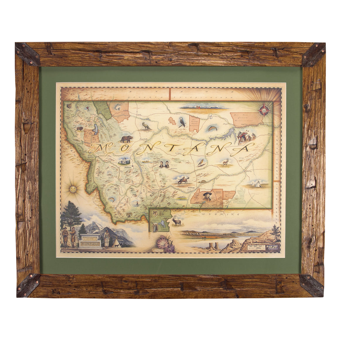 Montana Hand-Scraped Pine Framed Map