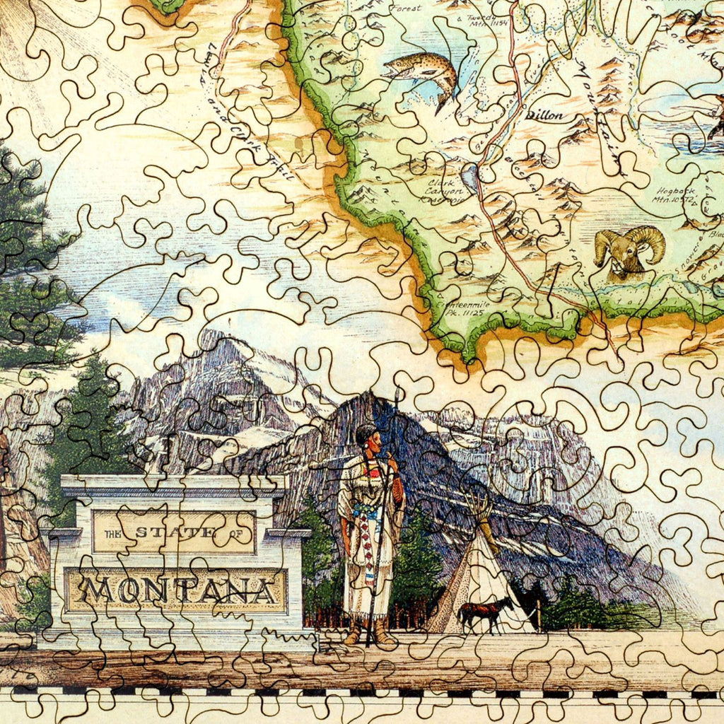 Montana Map Wood Puzzle