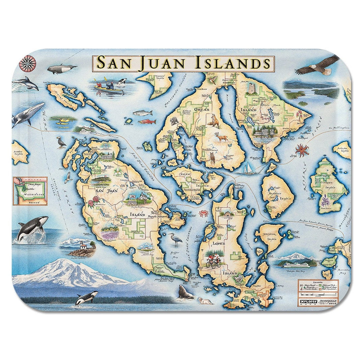 San Juan Islands Map Serving Tray
