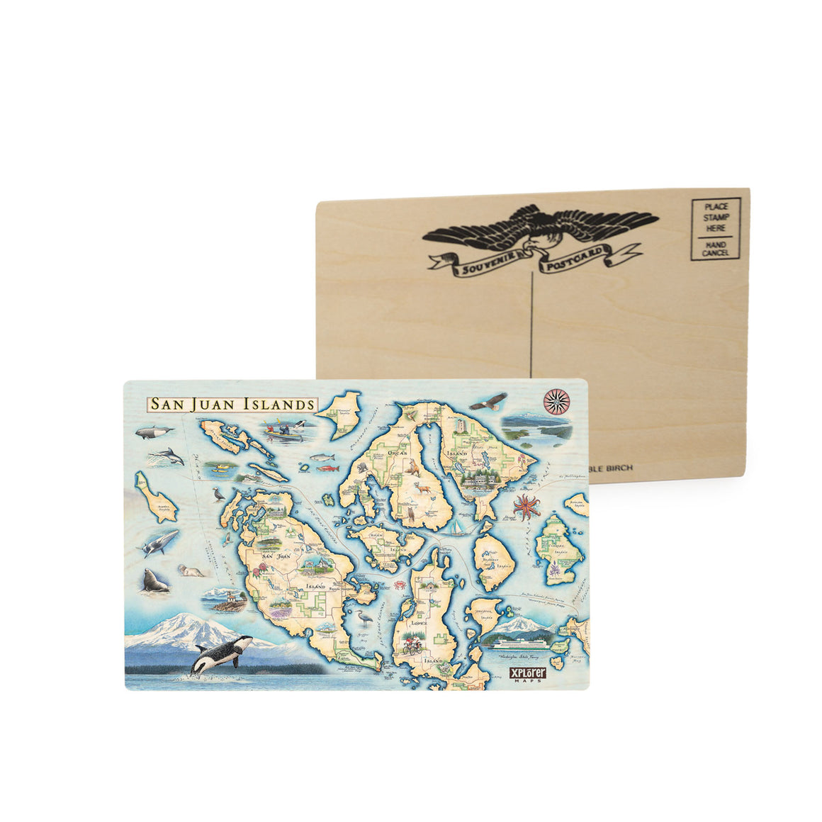 San Juan Islands Wood Postcard