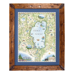 Lake Tahoe Hand-Scraped Pine Framed Map