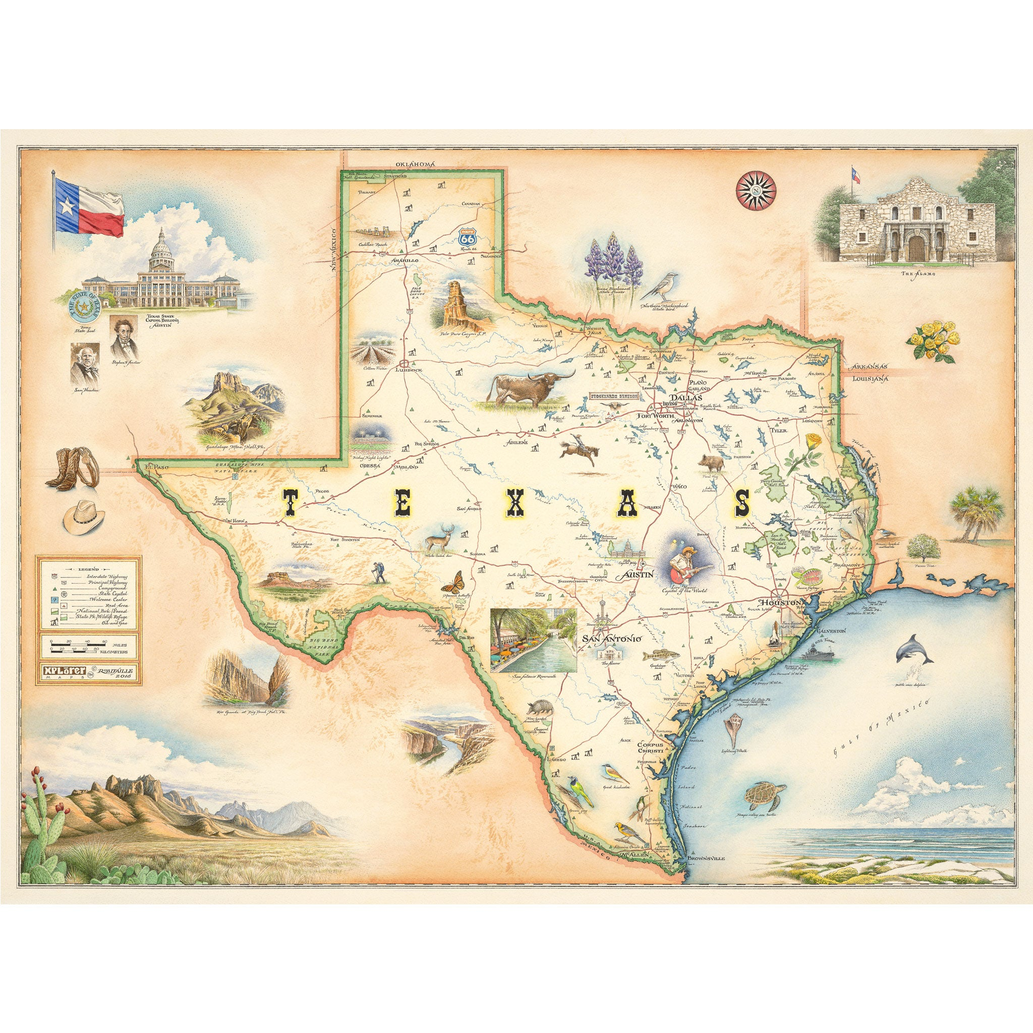 Texas State Map Art Prints Poster Art Wall Art Xplorer Maps