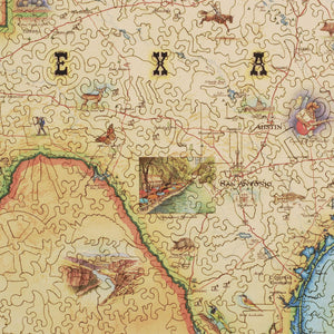 Texas Map Wood Puzzle