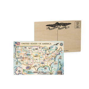USA wooden postcard